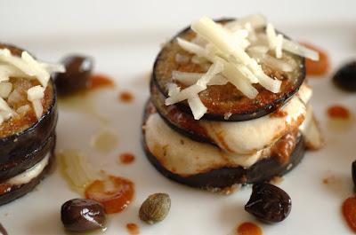 melanzane burrata pecorino e olive nere