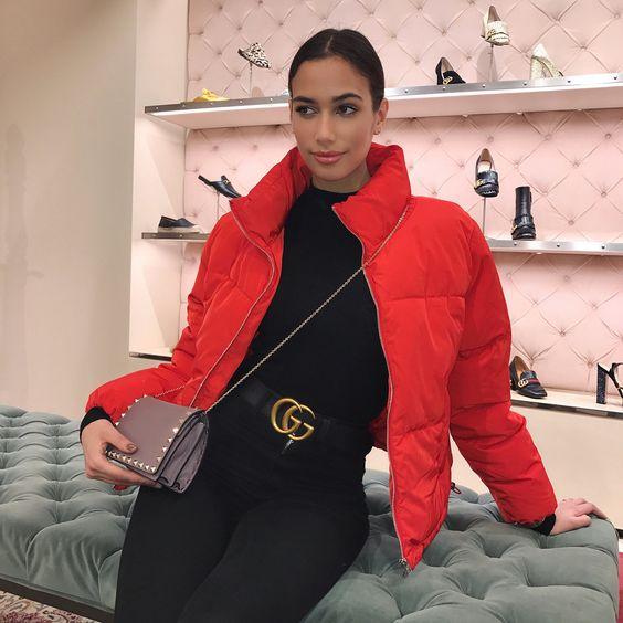 Red Puffer Coat Gucci Double G Logo Belt Valentino Shoulder Bag
