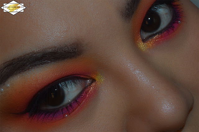 Orange Neon makeup using Vivid palette Outrageous Orange by W7, pink and orange neon makeup, w7 vivid neon review, vivid outrageous orange swatch, Vivid Outrageous Orange by W7 dupe Neon Obsession Neon Orange by Huda Beauty