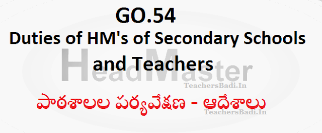 GO.54,Duties of Head Masters,Teachers