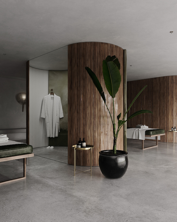 A partition wall of wood and green onyx in this Spa | 3D render