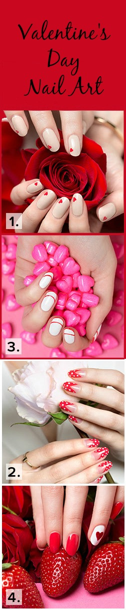 Four easy Valentine's Day nail art tutorials.
