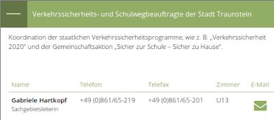 Screenshot von www.traunstein.de, Februar 2019, Verkehrssicherheits- und Schulwegbeauftragte Gabriele Hartkopf
