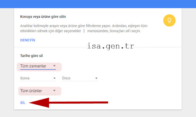 google geçmişi silme