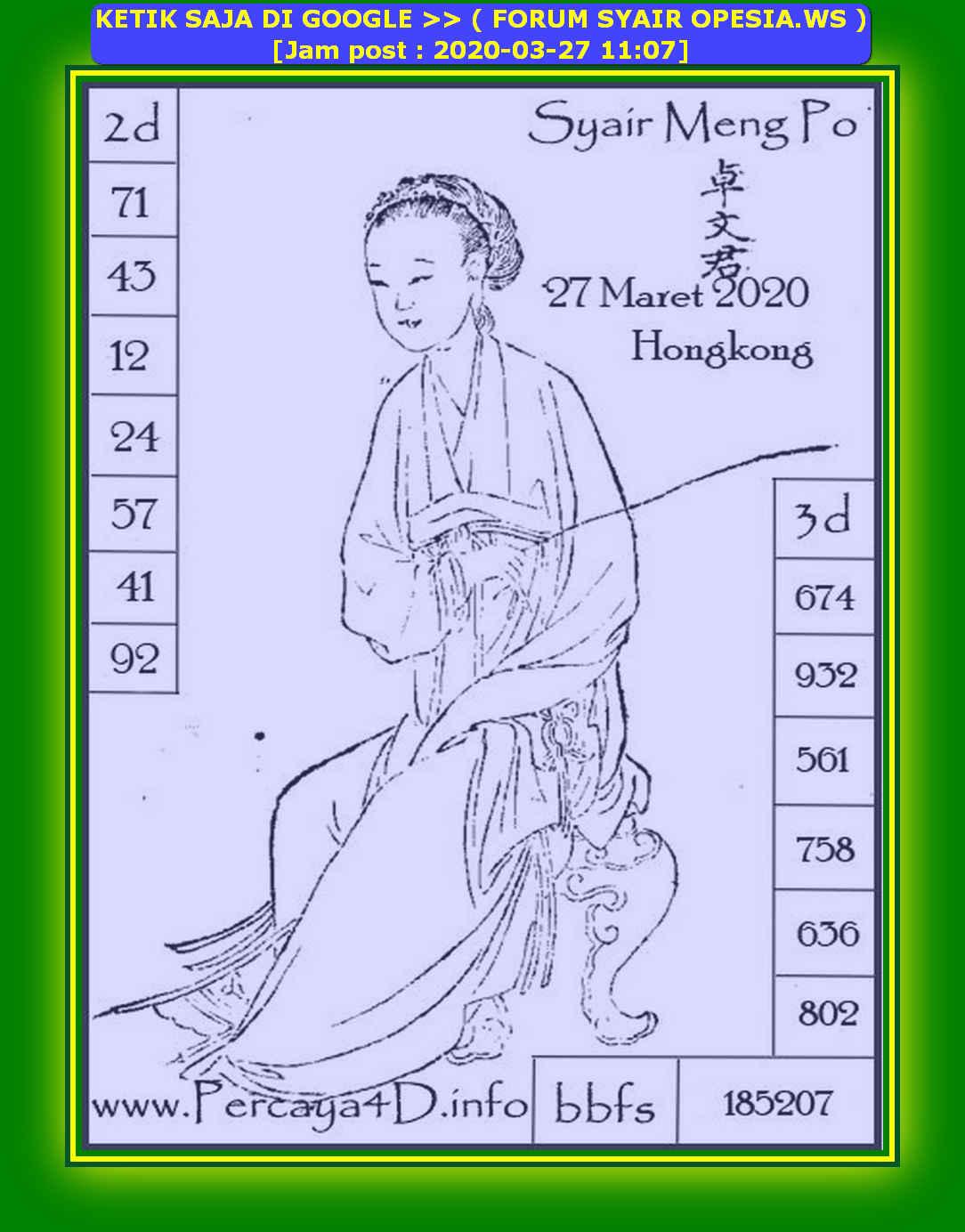 Kode syair Hongkong Jumat 27 Maret 2020 166