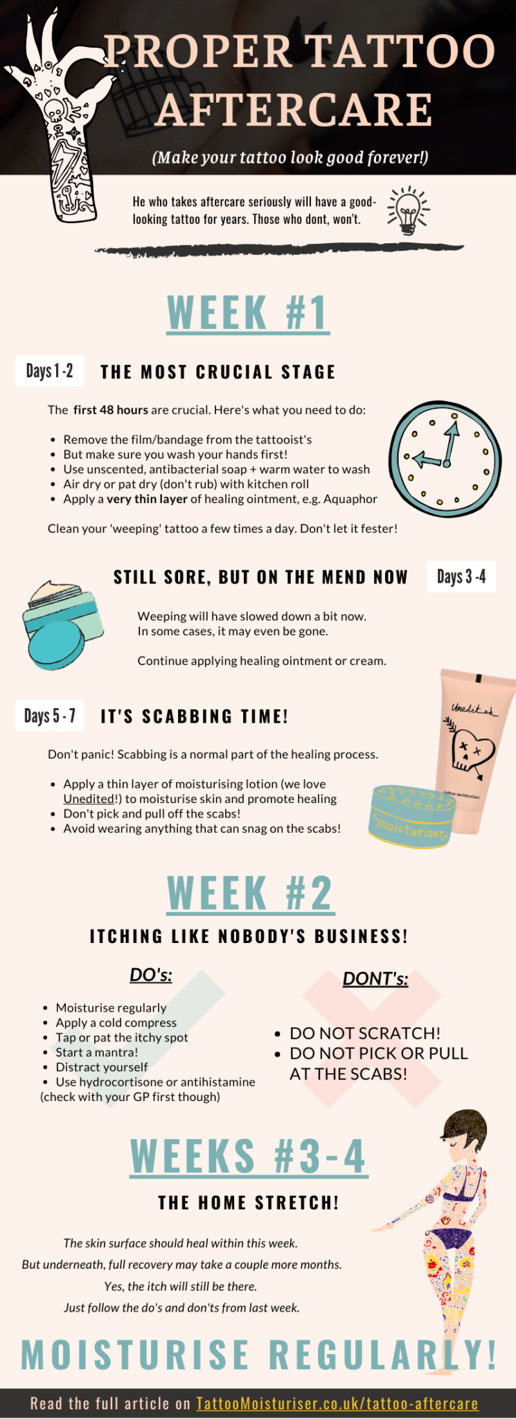 Proper Tattoo Aftercare: Make Your Tattoo Look Good Forever! #infographic