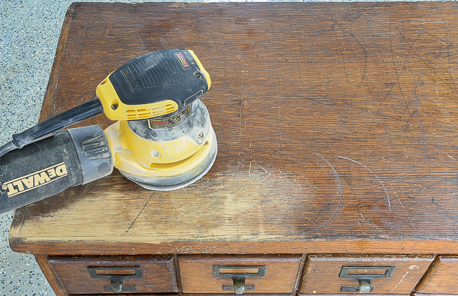 Sanding and removing stain from 18 drawer card catalog