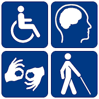 A image of four disability symbols. A person sitting in a wheelchair, a head highlighting the brain, two hands with the thumb and index finger touching and a person with a stick or cane.