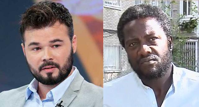 """Gabriel Rufián critica a Vox por su bandera de 300 metros y Bertrand Ndongo le llama """"golpista"""""""