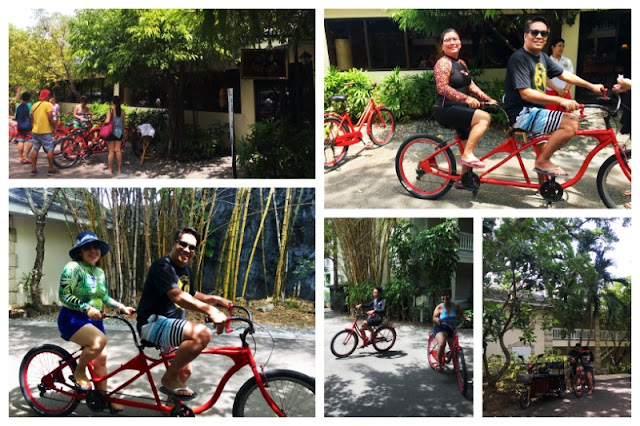 Fun biking at Plantation Bay. Day users can get a free use of bike for 30 minutes.