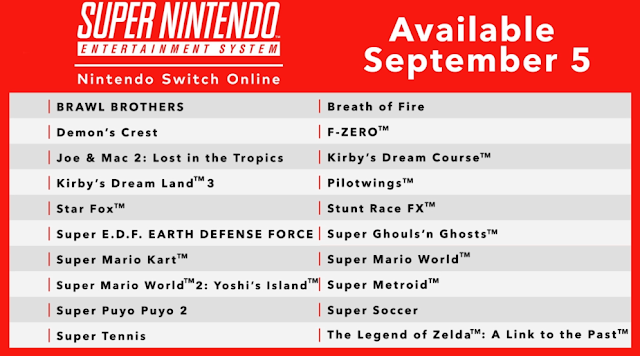 Nintendo Switch Online SNES launch game list