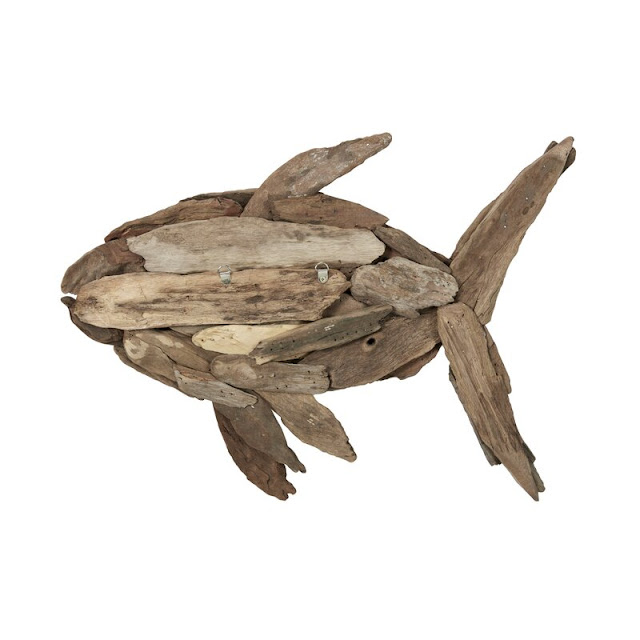 Hand-Carved Driftwood Fish Wall Decor
