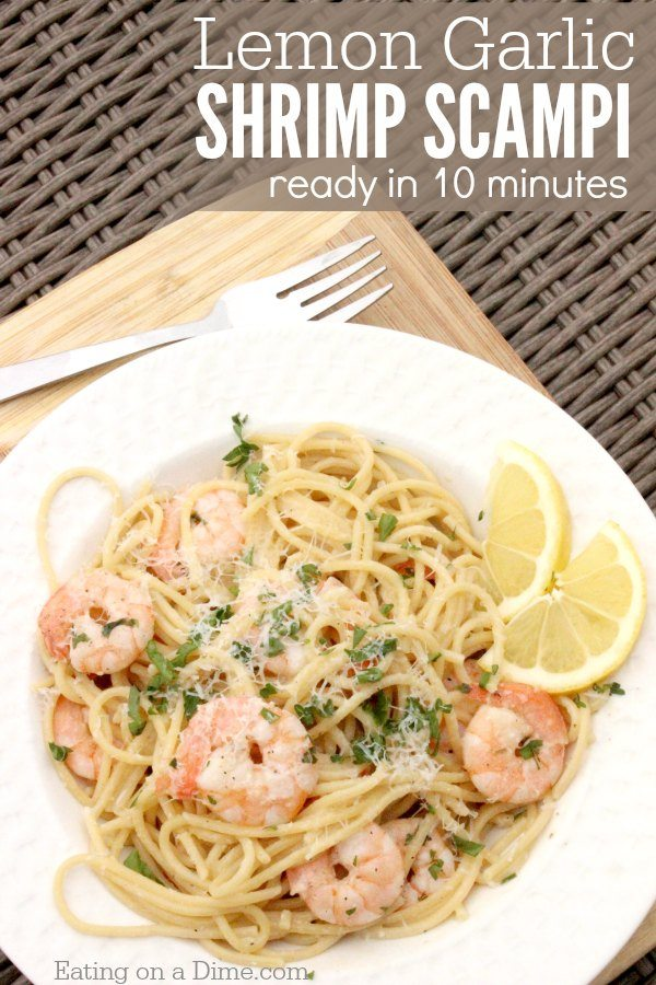 QUICK AND EASY LEMON GARLIC SHRIMP SCAMPI RECIPE #shrimp #dinner #noodles #lemon #healthydinner
