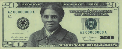 If it s a good idea to put Harriet Tubman s image on U.S. currency, why isn t it also okay to use her on this debit card? Is it that the user is a bank? Or is it that hand gesture?