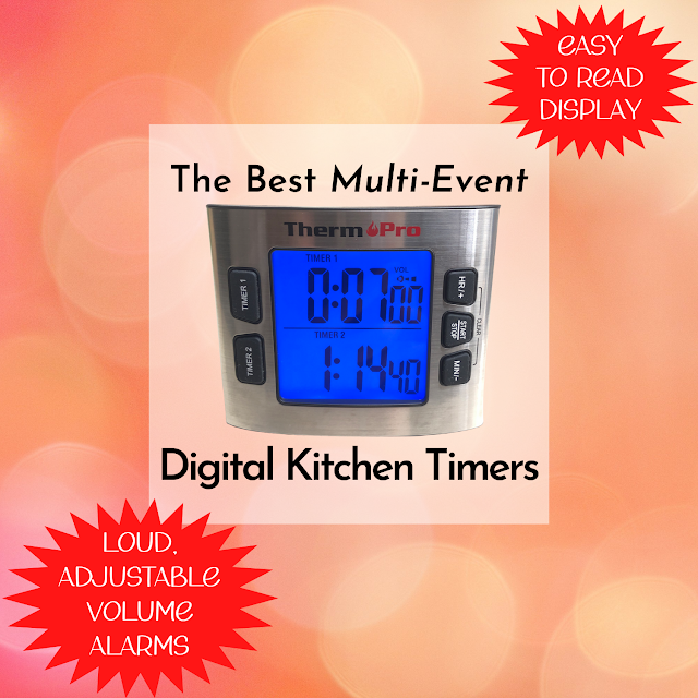 The Best Multi-Event Digital Kitchen Timers - Easy to Read Display, Loud Adjustable Volume Alarms