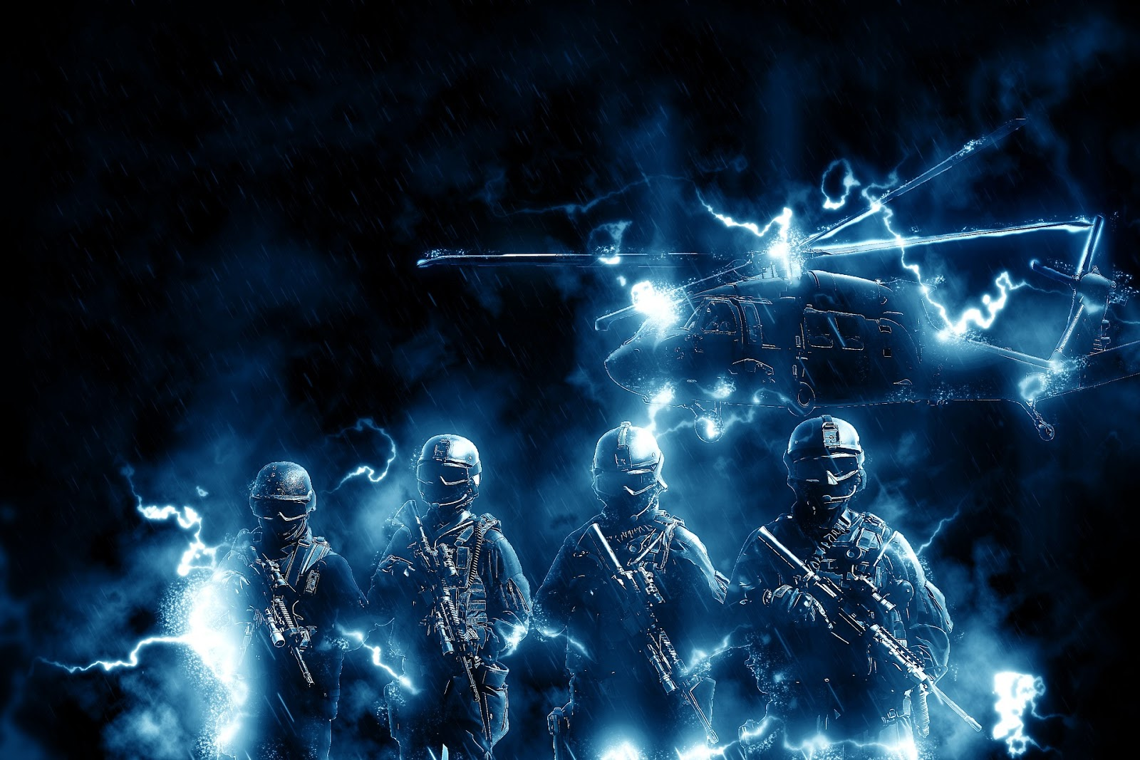 four soldiers stand next to each other with rifles and surrounded by blue light for blog post about movie the ghost army