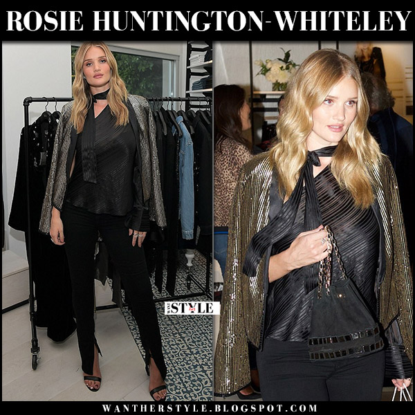 Rosie Huntington-Whiteley in gold jacket black silk top and black jeans rosiehw x paige september 6 2017