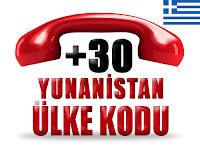 +30 Yunanistan ülke telefon kodu