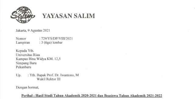 Beasiswa Yayasan Salim 2021
