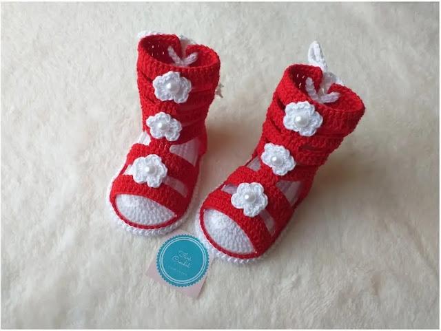 Como tejer Sandalias de Bebé Gladiadoras a Crochet