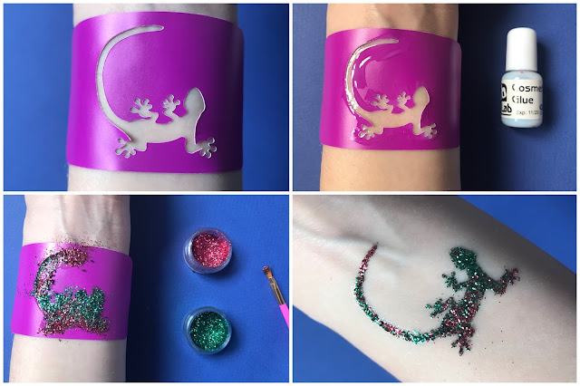 Collage of 4 photos showing step by step of doing a glitter tattoo as described in the text