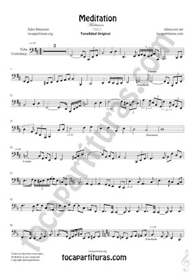 Partitura de Meditación Tuba y Contrabajo Sheet Music for Contrabass y Tuba Music Score