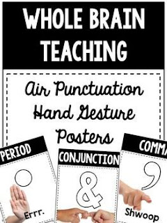 These posters work as great anchor charts or reminders to students on the gestures corresponding to punctuation and capitalization. This grammar strategy is used by Whole Brain Teaching to focus on Oral Writing.