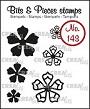 "Mini clear-stempels, 3 ""open"" en 3 ""dichte"" bloemen. Little clear-stamps (max 20 mm), 3 ""open"" and 3 ""closed"" flowers."