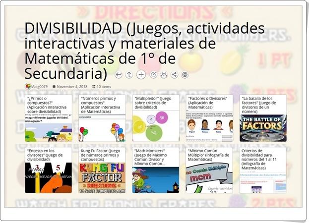 """""""10 juegos, actividades interactivas y materiales sobre DIVISIBILIDAD de 1º de Secundaria"""""""