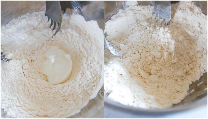cut shortening into biscuit cake dough