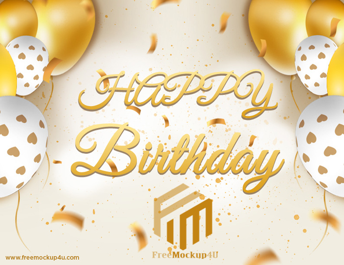 Golden Happy Birthday Card With Balloons