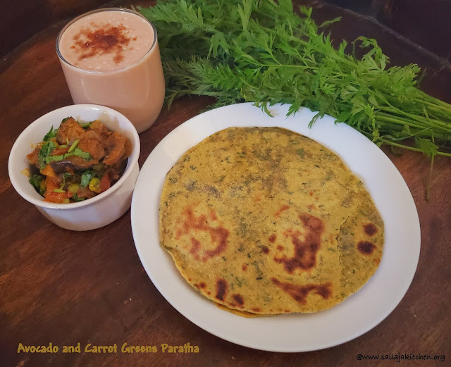 images of Avocado Carrot Greens Paratha / Carrot Leaves And Avocado Paratha
