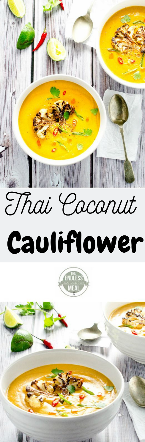 COCONUT CURRIED CAULIFLOWER SOUP #vegan #vegetable