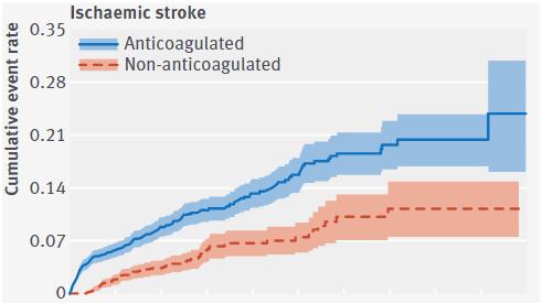 図:腎臓病で抗凝固療法は脳梗塞になりやすい