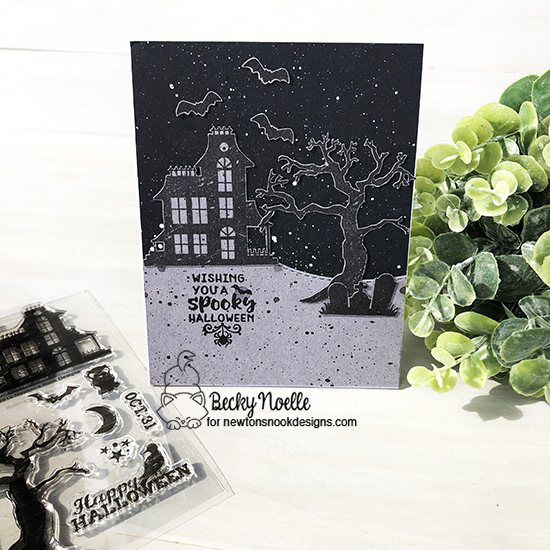Wishing you a spooky Halloween by Becky features Spooky Streets, Creepy Cameos, and Land Borders by Newton's Nook Designs; #newtonsnook