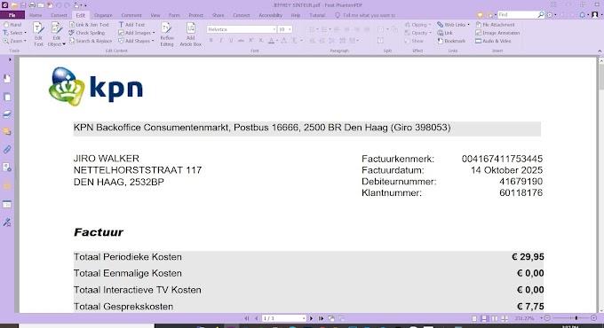 NETHERLAND KPN UTILLITY BILL PDF TEMPLATE  -03 PAGES