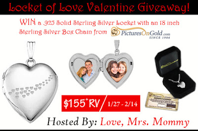 Enter the Locket of Love Valentine Giveaway. Ends 2/14