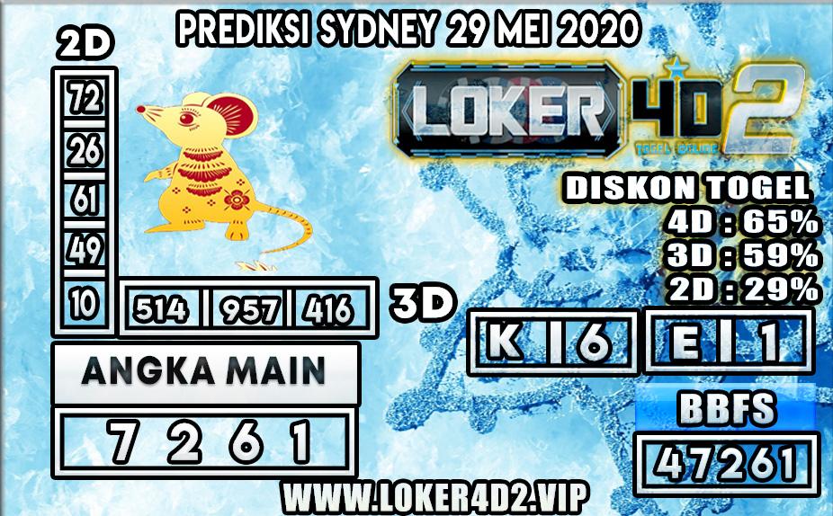 PREDIKSI TOGEL SYDNEY LOKER4D2 29 MEI 2020