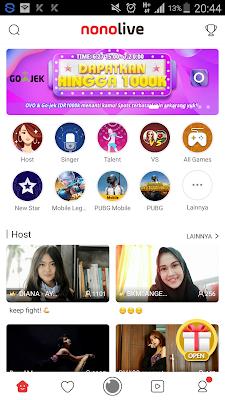 Hadiah Saldo OVO dan Gojek Aplikasi Nonolive Android
