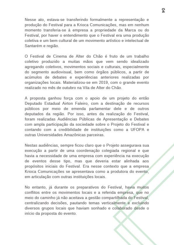 Carta aberta festival de cinema