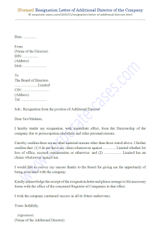 resignation letter of additional director