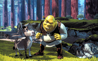Shrek and the donkey in the woods