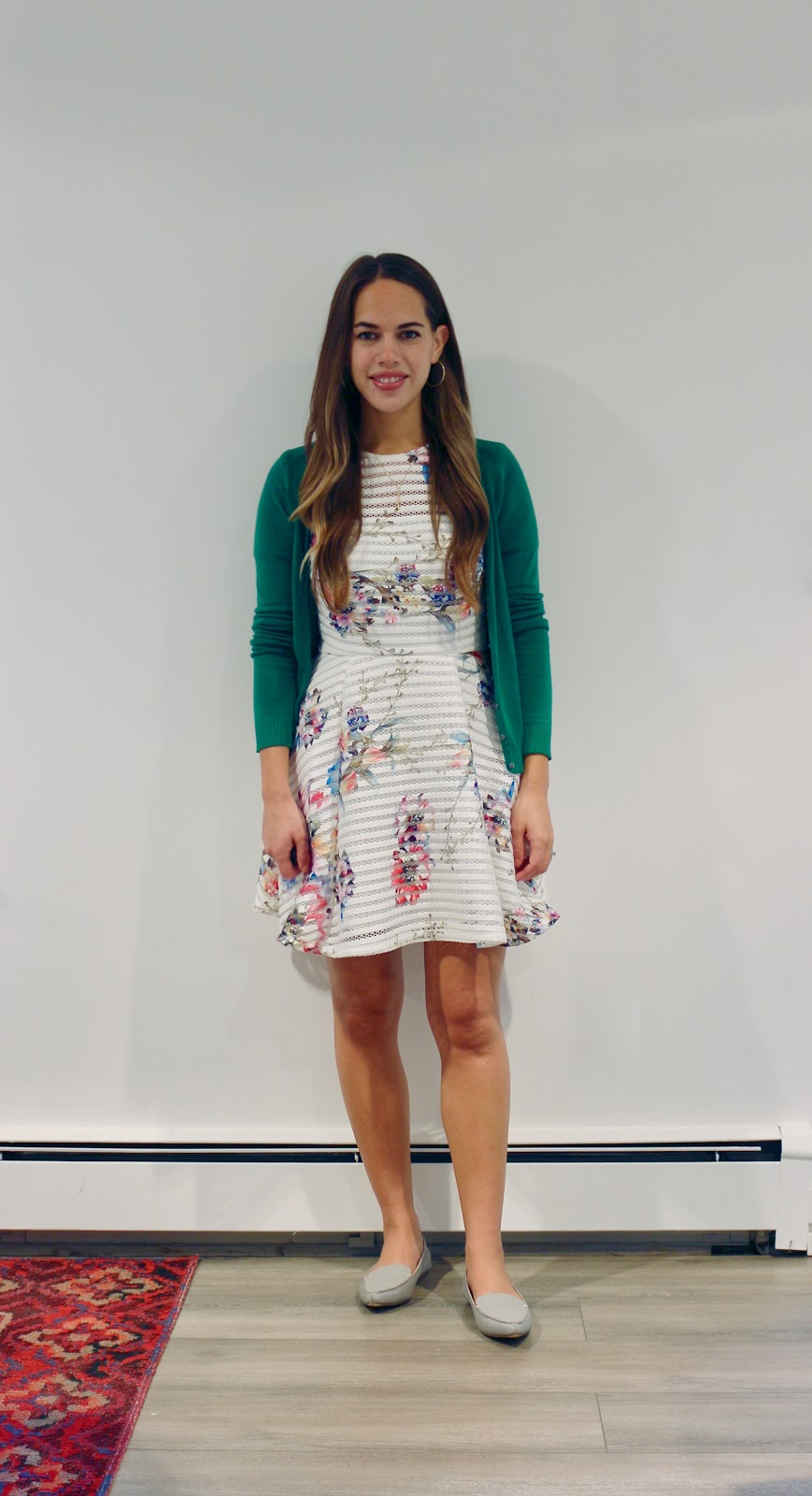 Jules in Flats - Floral Shadow Stripe Dress + Green Cardigan (Business Casual Workwear on a Budget)
