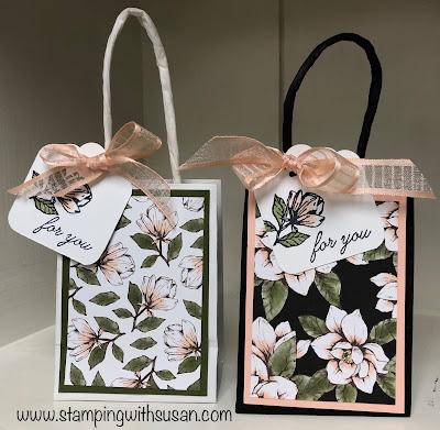Stampin' Up!, Magnolia Lane Designer Series Paper, Magnolia Lane, Gift Bags, Scalloped Tag Topper, www.stampingwithsusan.com