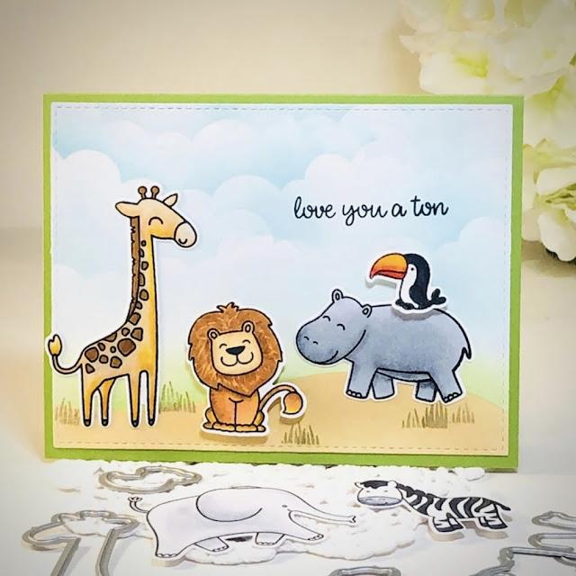 Sunny Studio Stamps: Savanna Safari Customer Card by Joan Kinnischtzke
