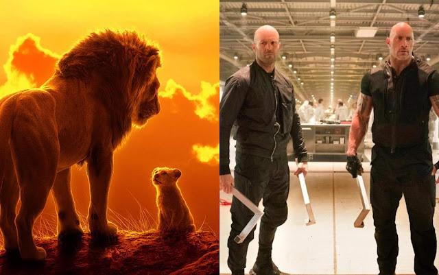 """""""Hobbs & Shaw"""" tem abertura mundial de US$ 180 milhões; """"O Rei Leão"""" permanece na liderança no Brasil"""