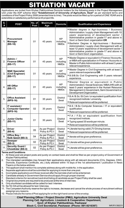 Latest Govt Jobs 2021 in Establishment of University of Agriculture Swat Office of the Project Director
