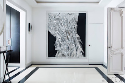 black and white modern entryway