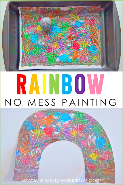 This now mess painting activity is a great way to explore colors for toddlers and preschoolers and the best part is the easy clean up.