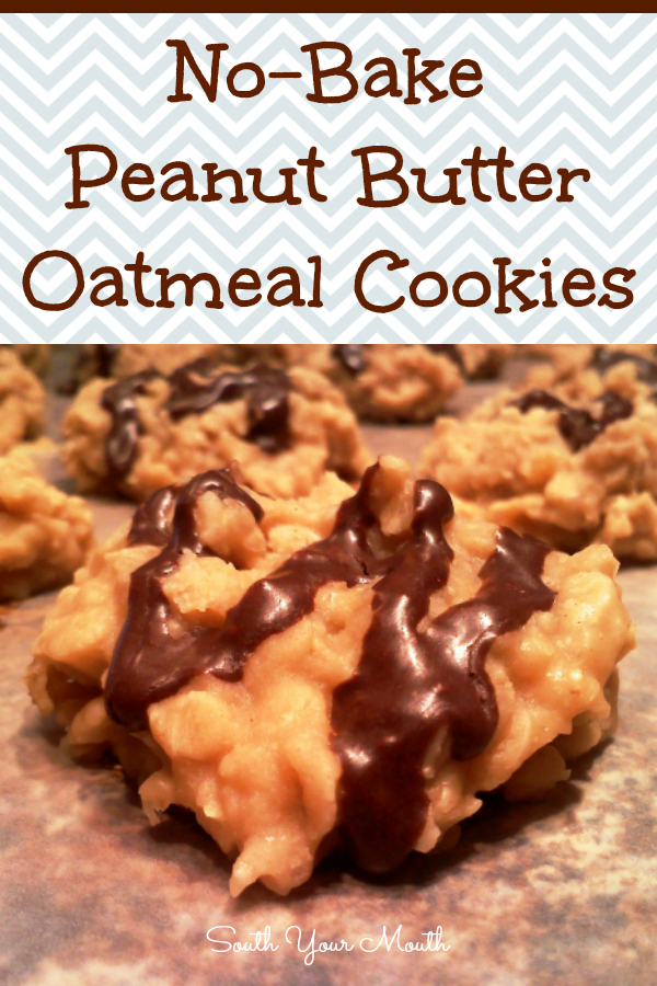 No-Bake Peanut Butter Oatmeal Cookies with Cocoa Drizzle
